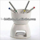 Ceramic fondue set with 4 stainless steel fork (BL-67)