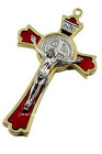 Enamel Red Metal alloy Benedict crucifix