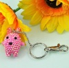 cute beaded bear plastic keychain