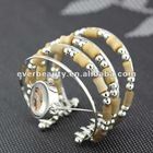 fashion elegant seed bead multistrand silver plated arc-shape quartz watch bangles&bracelets