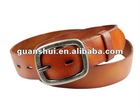 Brown men's casual cow hide leather belt