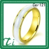 Cer121 white ceramic ring with stainless steel 5mm jewelry with gold plated