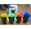 Colorful Ceramic Coffee Mug with Spoon