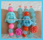 E650 Buddha and Rose Beaded Crystal Bracelets, Buddhist, Prayer Beads, Jewelry