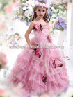 2013 A Line Spaghetti Strap Floor Length Organza Pink Girls Pageant Dress
