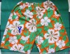 cotton men's beach short with colourful print for swimming