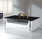 Black Glass/White wooden tea coffee table A2002