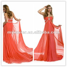 Chiffon Deep V-neck Ruffled Colorful Elegant Tony Bowls Evening Dress 2012
