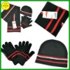 FB011843#Acrylic knitted scarf /gloves/hats three sports sets hot selling