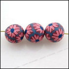 new design round polymer clay flower beads loose beads for bracelet or necklace 110566
