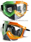 Motocross goggle with nose protection in two color frame