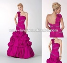 one-shoulder taffeta lace-up back Flowers stones on strap and hip alternating pleated beaded sections on prom dress OLP002