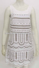 Women Fashion Healthy 53%Linen 43%Ramie 4%Silk hollowing out fabric crochet casual summer dress