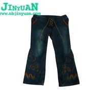Embroidery childrens long jeans