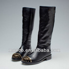 Newest fashion black real leather brand knee boots woman