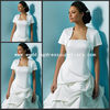 JAC067 Good Quality White Satin Short Sleeves wedding bolero Jacket