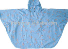 Children blue cartoon PU Poncho with hoody