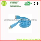 Blue flat usb cable for iphone(desk cable management)