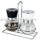 Salt & Pepper Grinder Rack Glass Jar and Ceramic Mechanism