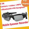 Free ShippingCamera+Video+MP3+Bluetooth+FM Sunglass 1.3mage Recording Speed 30fps 2GB