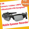 Free ShippingCamera+Video+MP3+Bluetooth+FM Sunglass 1.3mage Recording Speed 30fps 2GB