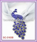 Hard To Find!!!! SC-3163B Peacock Scarf Accessory With Royal Blue Rhinestone