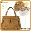 fashion genuine leather baby diaper bag