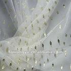 embroidered golden yarn nylon dot mesh net fabric for garment,clothing