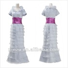 New Design Lace Short Sleeve Ryffles Neckline Mother Of The Bride Dresses