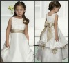 K4516 Lovely and Beautiful Ankle-length Appliques Satin Flower Girl Dress