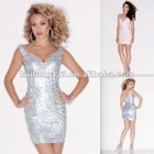 Slender Plunging V-neckline Fitted Short Beaded Sequin Formal Cocktail Dresses