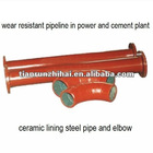 ceramic lining abrasion resistant steel pipe for coal power plant or mining