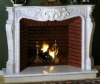 Marketable white marble carved fireplace