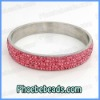 Rhinestone Stainless Steel Bangles Wholesale Fuchsia Micro Pave Bling Bling Crystal Jewelry For Women 11Colors RCB-003