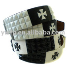Fashion PU belt with black and white square studs