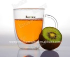 double wall glass tea mug