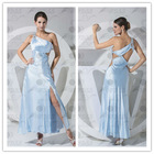 Real photo new design one shoulder sexy beading floor length evening dress for Christmas