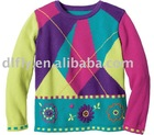stylish design girls jacquard pullover sweater