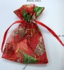 Organza Gift Bag, drawstring, with patterns, Christmas themes design, 16x12cm, Sold by PC