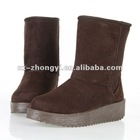 Girl's Warm and Simple Suede Fabric Half Snow Boot
