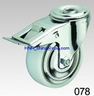 white pp or nylon wheel caster swivel with brake hole top