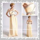 CW30 elegant one-shoulder beaded & pleated embroidered mexican dresses