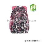 rpet backpack pink bag,school bag