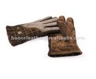 Men's fashion scrap suede leather dress glove with belt wrist