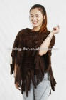 Fashion Kintted Ladies Mink Fur Shawl