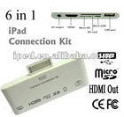 Wholesale 6 in 1 HDMI and RCA Connector for iPad for new ipad free shipping