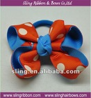 Small Size Boutique Hair Ribbon Bow with elastic Band for Ponytai/Pigtail