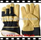 Cow Grain leather on palm/leather safety glove/index finger/patched palm/rubberized cuff/cow split,drill fabric/double palm/colo