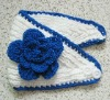 HANDMADE KNIT HEAD WRAP HEADBAND with BLUE TRIM