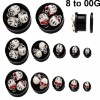 3D skull ear plug tunnel body jewelry UV Acrylic